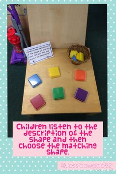 Listen to the description of the shape on the talking tin and choose the correct shape. Montessori Math, Preschool Math, Fun Math, Kindergarten Math, 2d Shapes Activities, Eyfs Activities, Early Years Maths, Early Years Classroom, Interactive Learning