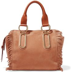See by Chloé Paige medium fringed nubuck and textured-leather shoulder... ($575) ❤ liked on Polyvore featuring bags, handbags, shoulder bags, brown, bohemian handbags, bohemian purse, brown fringe handbag, shoulder strap bag and brown fringe purse