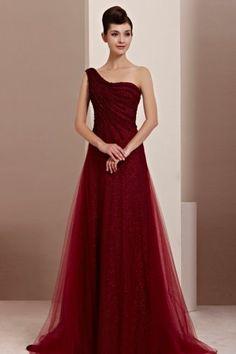 A-Linie eine Schulter Tüll elegantes bodenlanges Abendkleid