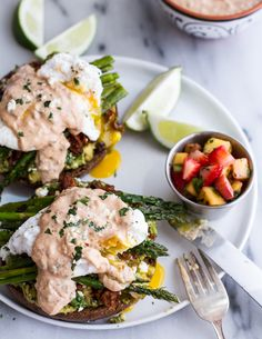 Cotija Guacamole + Chorizo Eggs Benedict with Honey Chipotle Lime Sauce