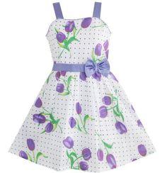 Barato 2015 verão vestido floral do bebê meninas vestem a tulip impresso…