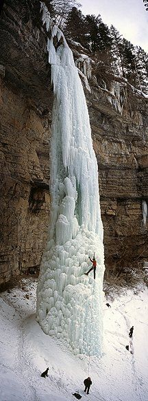 Frozen Waterfall!.....AMAZING!... (The   Fang waterfall in Vail, Colorado, USA) ice climbing