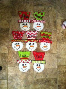 Wooden snowmen ornaments