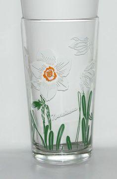 Vintage Boscul Peanut Butter Swanky Swig Flower Glass Tumbler Narcissus       TS #SwankySwig