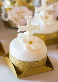 Communion party mini cakes! See more party planning ideas at CatchMyParty.com!