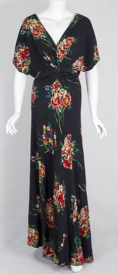 Bias-cut crepe evening dress, c.1938