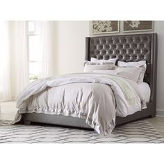 Shop for Signature Design by Ashley Coralayne Grey Upholstered Bed. Get free shipping at Overstock.com - Your Online Furniture Outlet Store! Get 5% in rewards with Club O!