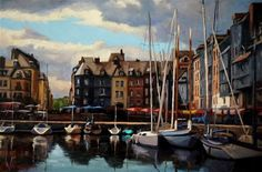 "Daily+Paintworks+-+""Cloudy+Day+in+Honfleur""+-+Original+Fine+Art+for+Sale+-+©+Jonelle+Summerfield"