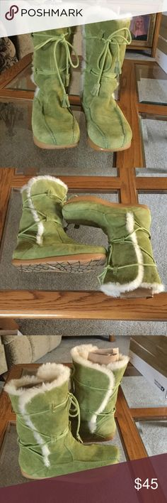 Earth Boots Dark Lime Green in color, leather suede upper with super soft fur lining.  10 inches from floor to top of boots.  Very good condition inside and out. Earth Shoes Winter & Rain Boots