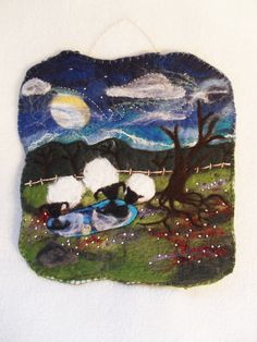 Felted Tapestry Made from Wool and Silk Sheep by EntangledForest