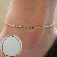 Fashion Gold Thin Chain Ankle Charm Anklet Leg Bracelet Foot Jewelry Adjustable Ankle Bracelets For Women Accessories - free shipping worldwide