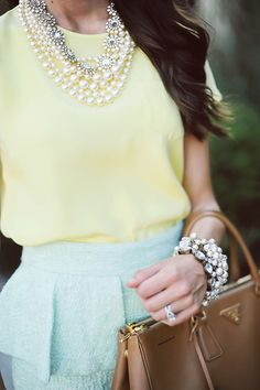 yellow cream with pearl and sparkle, and a pale blue.
