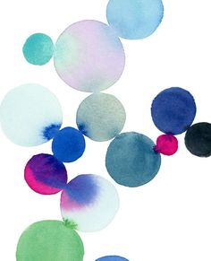 Dot Cluster in Blue and Magenta Watercolor Art by YaoChengDesign