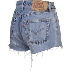 VINTAGE KORT Shorts Denim fra q* DKK 350,-   Køb Online ❤ liked on Polyvore featuring shorts, bottoms, pants, denim, vintage denim shorts, denim shorts and vintage shorts