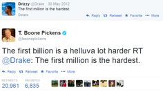 Billionaire Boone Pickens' reply to Drake is considered to be one of the greatest tweets of all time.
