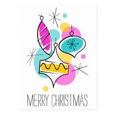 Retro Tree Baubles Group Christmas vertical Postcard - Xmas ChristmasEve Christmas Eve Christmas merry xmas family kids gifts holidays Santa