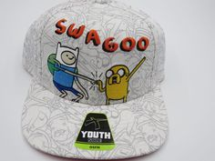 Adventure Time White Swagoo Bioworld Youth Childrens Size Snapback Hat  #Bioworld #BaseballCap  #Adventure Time White Swagoo