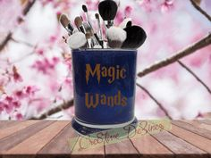 Magic Wands, Harry Potter Wand Jar, Harry Potter Wizard, Harry Potter Makeup, Glitter Makeup Jar, Hogwarts Makeup Cup, Glittered Brush Cup