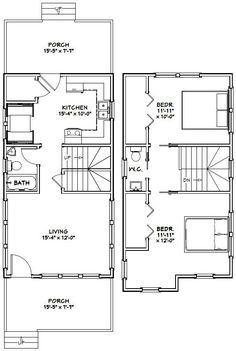 16x20 house -- #16x20h3 -- 569 sq ft - excellent floor plans