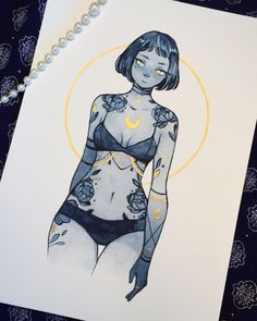 ( ˊ̱˂˃ˋ̱ ) — Some gold embellished prints I made! They are A5...