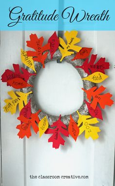 Snag our *FREE* leaf pattern and create a gratitude wreath for Thanksgiving!