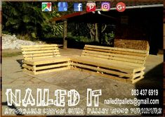 Pallet wood Corner (L-Shape) patio set. A 2-seater and 4-seater, with connecting coffee table. Affordable pallet wood furniture designed by you, built by us. For more info, contact 0834376919 or naileditpallets@gmail.com #patiofurniture #palletpatiofurniture #palletwoodprojects #palletwoodpatiofurniture #palletfurnituredurban #custompalletfurniture #nailedpalletfurnituredurban #naileditcustombuiltpalletfurniture