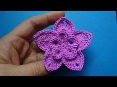 Начинаем вязать – Видео уроки вязания » Цветочек пятилистник – Вязаные цветы – Урок №82
