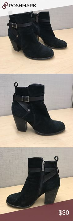 Ivanka Trump Black Suede Ankle Booties Selling a pair of Ivanka Trump black suede booties size 7.5. The suede is in good condition however the heels are a bit worn down on the backs and the inside heel bed has down down a bit. Very comfortable for the winter! Ivanka Trump Shoes Ankle Boots & Booties