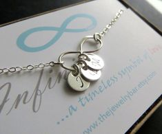 Mother's infinity necklace, three initials, Personalized infinity necklace, mother of the bride gifts, thank you card