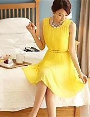 Women's New Chiffon Pleat Elegant Dress – USD $ 20.99