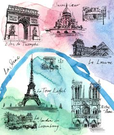 By Sarah Maycock Paris Illustration, Graphic Illustration, Paris Map, Paper Artwork, Eiffel, Urban Sketching, Travel Maps, History Museum, Continents