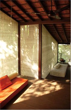 Studio Mumbai - Bijoy Jain's Alibaug home/office space. Detailed wooden joinery, sloping roofs and a screen creating a translucent partition between the indoor and outdoor.