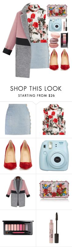 """149"" by erohina-d ❤ liked on Polyvore featuring Balmain, Ganni, Christian Louboutin, Fujifilm, Dolce&Gabbana and Too Faced Cosmetics"