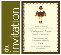 Kids-Only Thanksgiving Dinner | Invitation