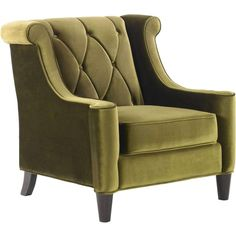 Armen Living Barrister Chair In Green Velvet With Green Piping