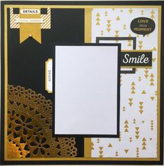 A Touch of Gold collection from Kaiser Craft. Scrapbook Templates, Scrapbook Sketches, Scrapbook Page Layouts, Card Sketches, Scrapbook Cards, Single Pic, Scrapbook Generation, Photo Layouts, Touch Of Gold