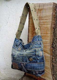Sac de sac à main sac à main denim OOAK faite juste par BukiBuki
