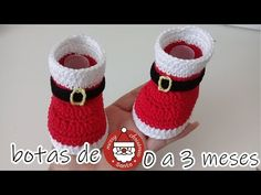 Santa Claus is coming to town once you hook up this Crochet Baby Santa Boots. Who doesn& like to dress like a Santa Claus ? This is a dream for every child Crochet Christmas Hats, Crochet Santa, Crochet Christmas Decorations, Christmas Crochet Patterns, Holiday Crochet, Crochet Mittens, Crochet Baby Shoes, Crochet Baby Booties, Crochet Slippers