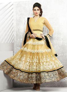 Supreme Beige Net Anarkali Suit