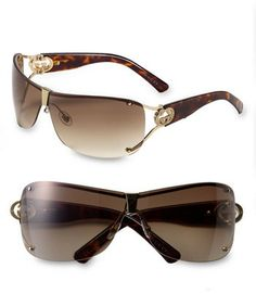 Gucci 73mm Shield Sunglasses with Crystal Logo Detail on shopstyle.com