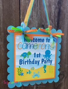 Ocean Friends for Boys Collection Door Sign, Party Sign, Hanging Sign -Under the Sea -Baby Shower -Birthday -Ocean Animals