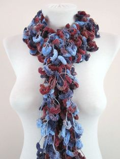 Hand crochet Long Scarf blue purple burgundy by scarfnurlu on Etsy Neck Accessories, Winter Accessories, Pompom Scarf, Long Scarf, Neck Warmer, Hand Crochet, Womens Scarves, Purple, Viola