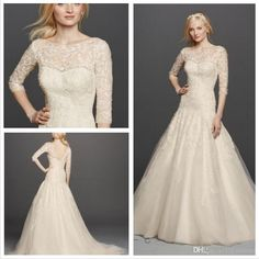 2016 Lace A Line Wedding Dresses Illusion Jewel Neckline And 3/4 Sleeves Tulle Skirts Deep V Back Cwg735 Plus Zise Bridal Gowns A Line Vintage Wedding Dresses Empire Line Wedding Dresses With Sleeves From Lovewed, $150.76| Dhgate.Com