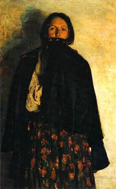 PEASANT WOMAN COVERING HER MOUTH WITH SHAWL 1894 by Malyavin, Filipp (1869-1940)