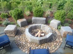 North Beach st. fire pit with granite seats | Jesse Dutra Landscape and Design