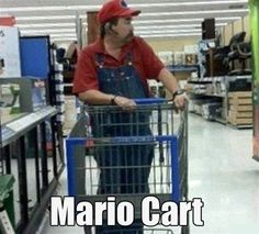 Mario Cart (for real). Look Mario shops at Walmart! People Of Walmart, Only At Walmart, Walmart Humor, Walmart Shoppers, Walmart Customers, Walmart Walmart, Mario Et Peach, Funny Captions, Funny Memes