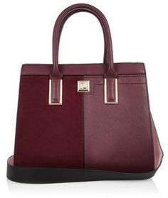 River Island Womens Dark red boxy panel tote handbag
