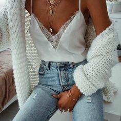 "Find and save images from the ""Outfit . 👑"" collection by Justa ♡ (Justynana) on We Heart It, your everyday app to get lost in what you love. 30 Outfits, Summer Outfits, Cute Outfits, White Cami Tops, Camisole Top, Style Inspiration, My Style, Lady, Womens Fashion"