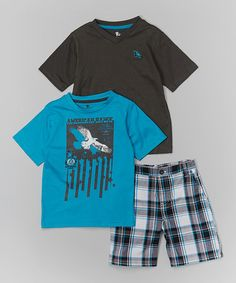This Laguna Blue & Charcoal Tee Set - Toddler & Boys by American Hawk is perfect! #zulilyfinds