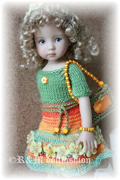 """OOAK Hand Knit Set by R M Dollfashion Fall Line for Dianna Effner 13""""Dolls 